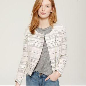 Ann Taylor Loft Ivory Striped Tweed Moto Jacket 4